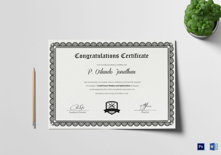 Congratulations Certificate Template  $12  Formats Included : MS Word, Photoshop   File Size : 11.69x8.26 Inchs  #Certificates #Certificatedesigns #CongratulationsCertificates