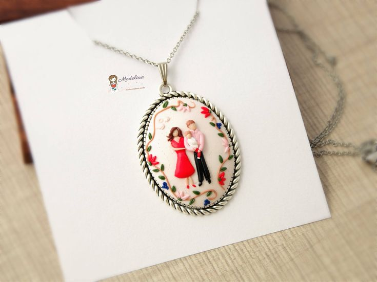 Excited to share the latest addition to my #etsy shop: Family necklace, Mothers Day gift, custom portrait, Mom birthday, mother and son, painter necklace, from son to mom, personalized jewelry