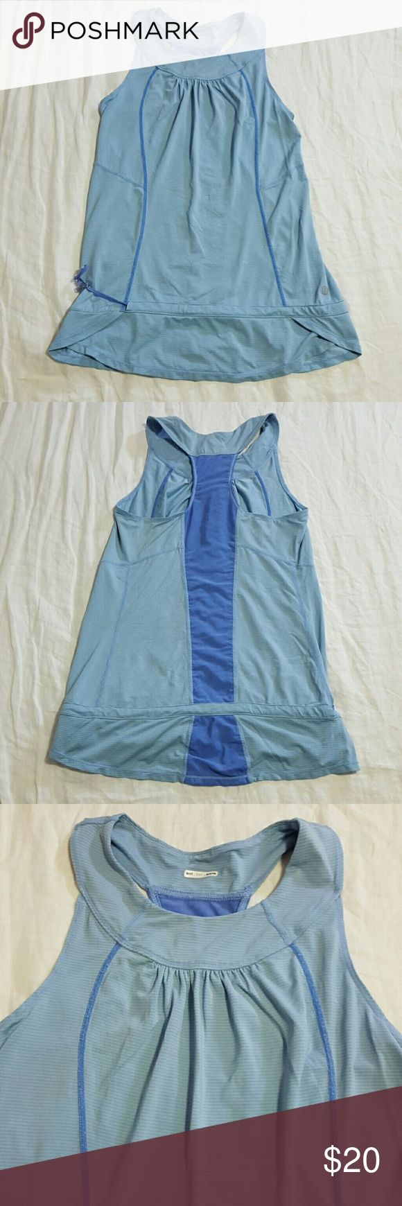 """Beautiful lululemon flowy Tank Top lululemon Blue On Blue Tank Top. Adjustable Drawstring by the wast  Tag has been removed, never had a size dot  Very good preowned condition. Washed on hand wash cycle and lined dried  Measurements  Pit to pit 14"""" Length 22"""" Size 10 lululemon athletica Tops Tank Tops"""