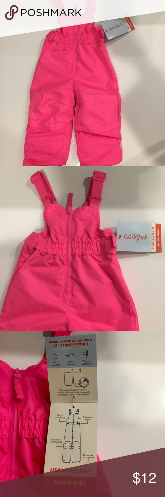 CAT & JACK  HEAVYWEIGHT SNOW BIBS NWT/ MATCHING JACKET LISTED & SOLD SEPARATELY MAXIMUM PROTECTION FROM THE HARSHEST ELEMENTS. -WATER RESISTANT -WIND RESISTANT -WEATHER PROTECTION -FLEECE BODICE LINING -ADJUSTABLE WAIST -REINFORCED KNEES & SEAT -PROTECTIVE SNOW GUARD 💫YOU CAN EVEN INCREASE THE LENGTH!! CAT & JACK Jackets & Coats