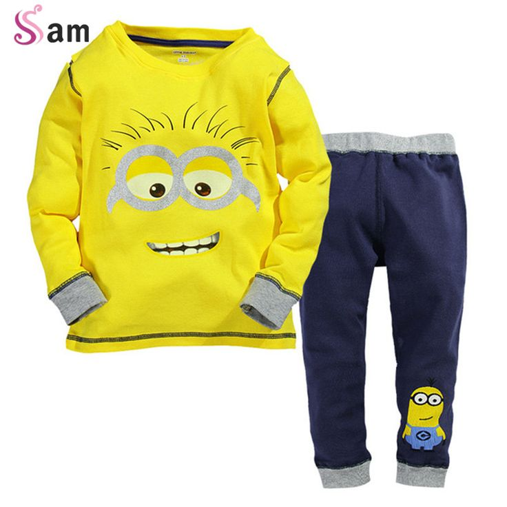 $9.15 (Buy here: https://alitems.com/g/1e8d114494ebda23ff8b16525dc3e8/?i=5&ulp=https%3A%2F%2Fwww.aliexpress.com%2Fitem%2F2013-summer-girls-and-boys-cotton-hooded-short-sleeved-sweater-with-angel-wings-7-pants-leisure%2F1023175782.html ) 2015 New Baby Boys Despicable Me Cotton Minion Clothing Sets 2pcs Kids Long sleeve T shirt and Pants Children Clothes for just $9.15