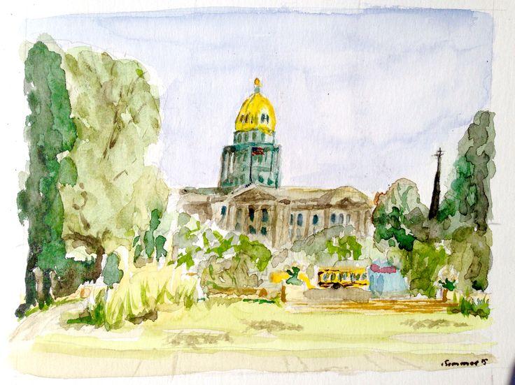 """""""Colorado State Capitol"""" Aquarell auf Karton 18x24"""