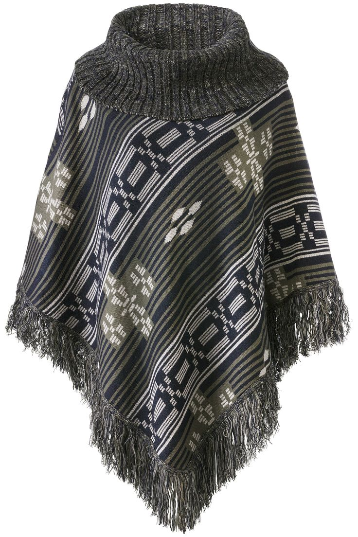 Glamping | Fall collection | Poncho | Aztec print | Grey