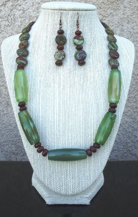 Green and brown Jasper  with matching by LolasCustomJewelry, $75.00