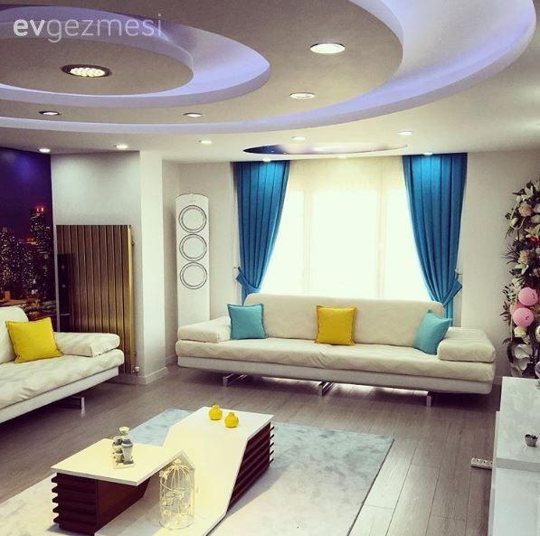 Salon, Sehpa, Mavi, Sarı, Beyaz, Asma tavan, Fon perde