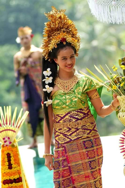 Balinese woman. Bali is an Indonesian island. Indonesia is located in southeast Asia and Oceania.