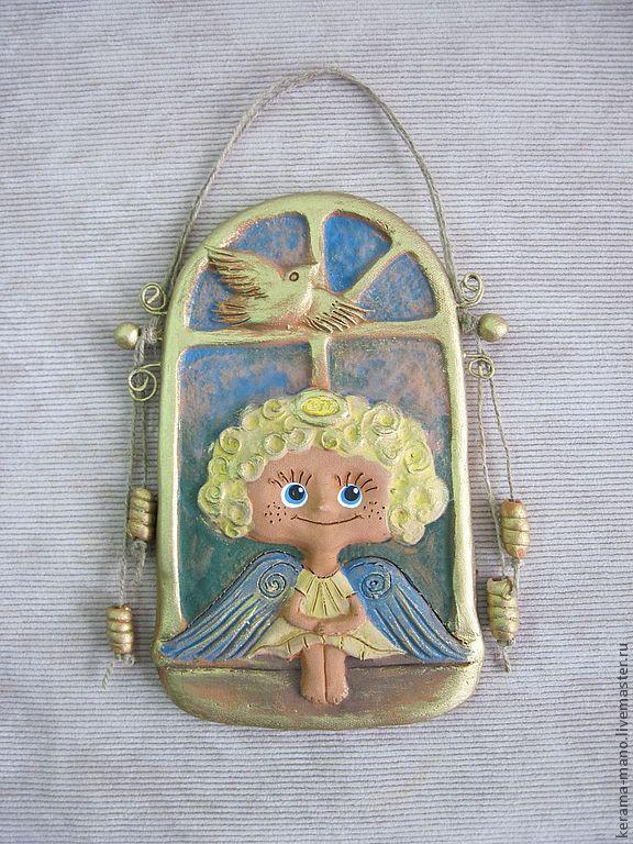 Купить Ангел на счастье. - керамика ручной работы, панно настенное, ангел-хранитель, счастье