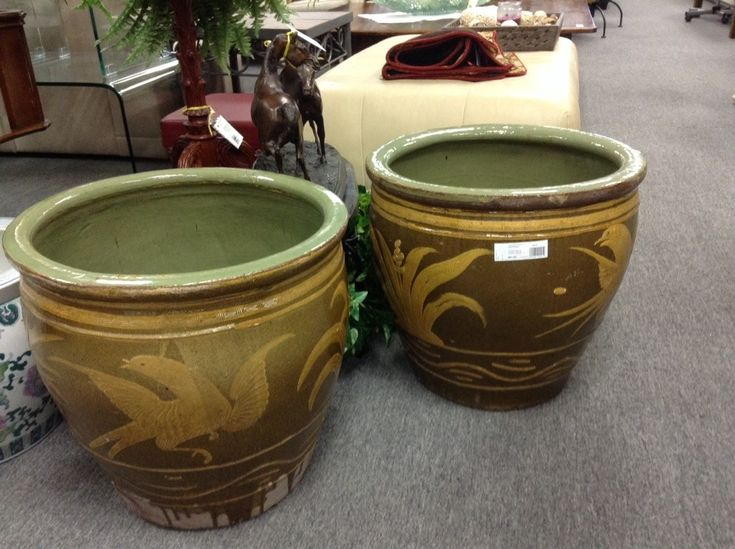 large ceramic planters large ceramic planters 18 inches tall by 19 inches diameter across - Large Ceramic Planters