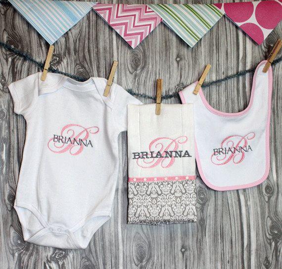 Baby shower gift   Onesie Burp and Bib baby gift set in classic by ChesapeakeBayby, $38.00