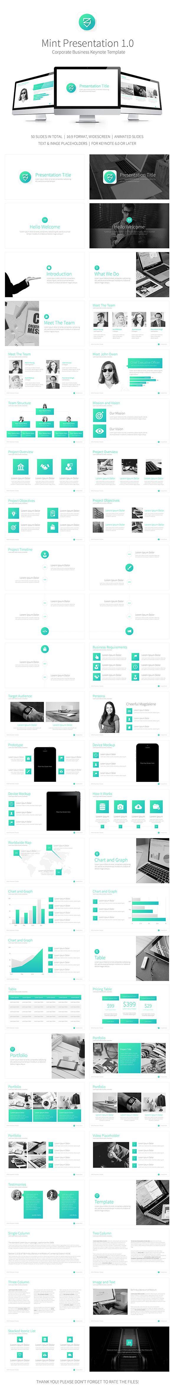Mint Presentation Keynote Template #design #slides Download…