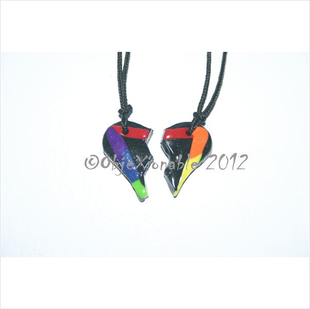 Twin Set Black and Rainbow Triangle Heart Pendants