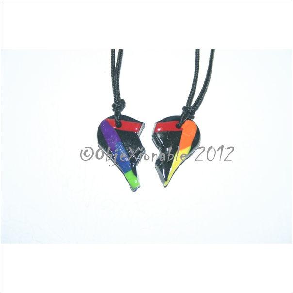Twin Set Black and Rainbow Triangle Heart Pendants