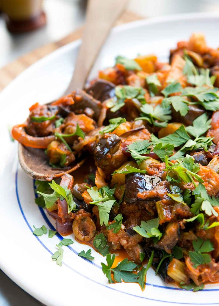 The classic Sicilian salad of eggplant and tomatoes with vinegar, olives and capers. A great dish that celebrates the best of the season!