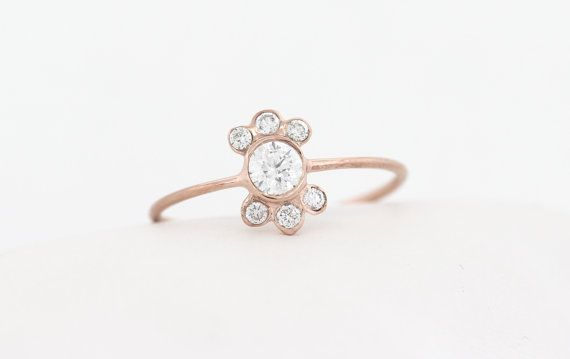 14K Diamond Bezel Engagement Ring Set With Accent Diamond on Top and Bottom, Half Halo Diamond Engagement Ring, 14K Dainty Simple Ring