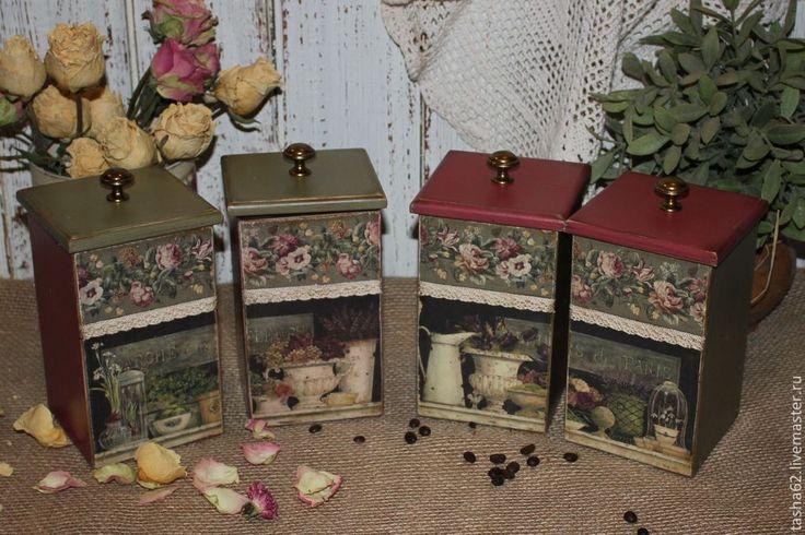"""Купить """"Fleurs de Paris"""" баночки для чая,специй - бордовый, темно-зеленый, прованс, Декупаж"""