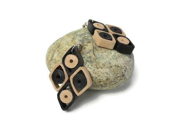 Geometric earrings  Brown earrings  Diamond by Herpaperparadise