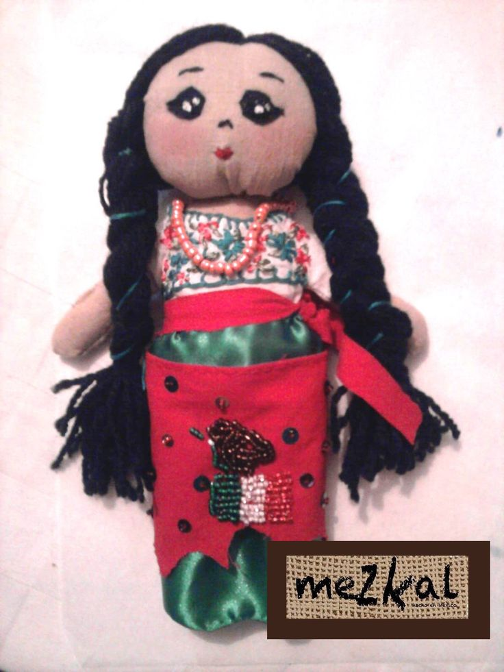 Muñeca de trapo artesanal China Poblana Vestimenta tipica de la Cd. de Puebla
