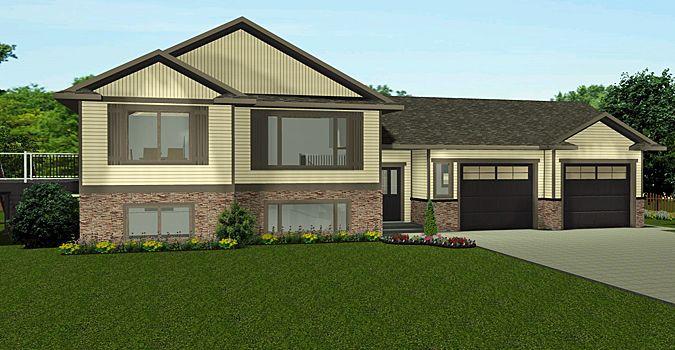 Plan 2013730 Bi Level 2 Car Garage Open Floor Plan Vaulted Ceiling 3 Bedroom Large Mudroom Big Windows Side Deck House Plans Bi Level Homes House