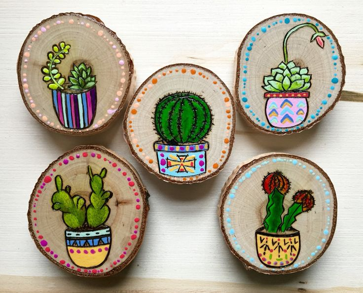 >>>>>painted on small wooden circles attached to a magnet piece >>>>>>>>Cactus Art Magnets hand painted and wood burned
