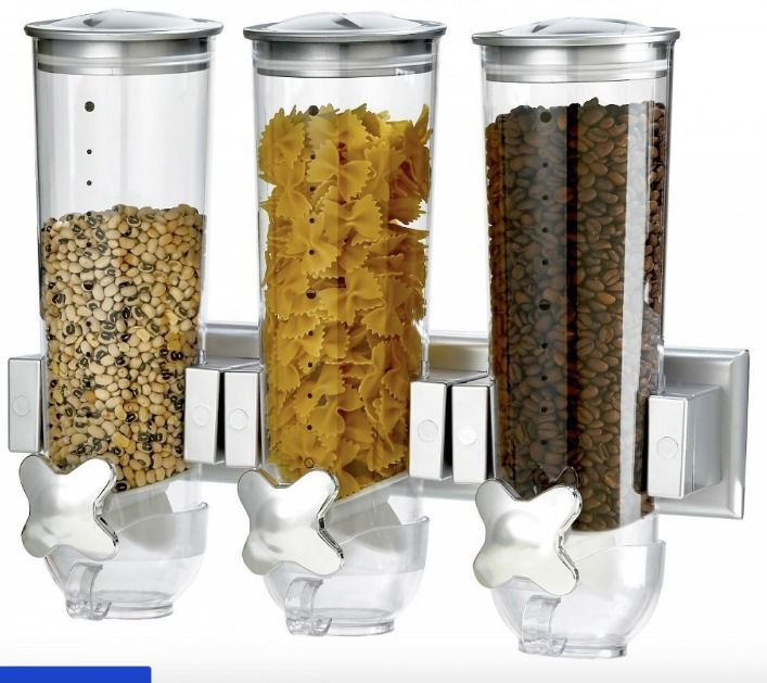 Canister Dry Food Cereal Dispenser Storage Wall Mount kitchen gadgets containers #KitchNWares