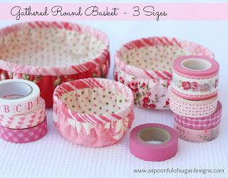 Tutorial: Gathered Round Basket | A Spoonful of Sugar--These would be fun to make for gifts in Christmas or other seasonal fabric--or maybe collegiate fabric.