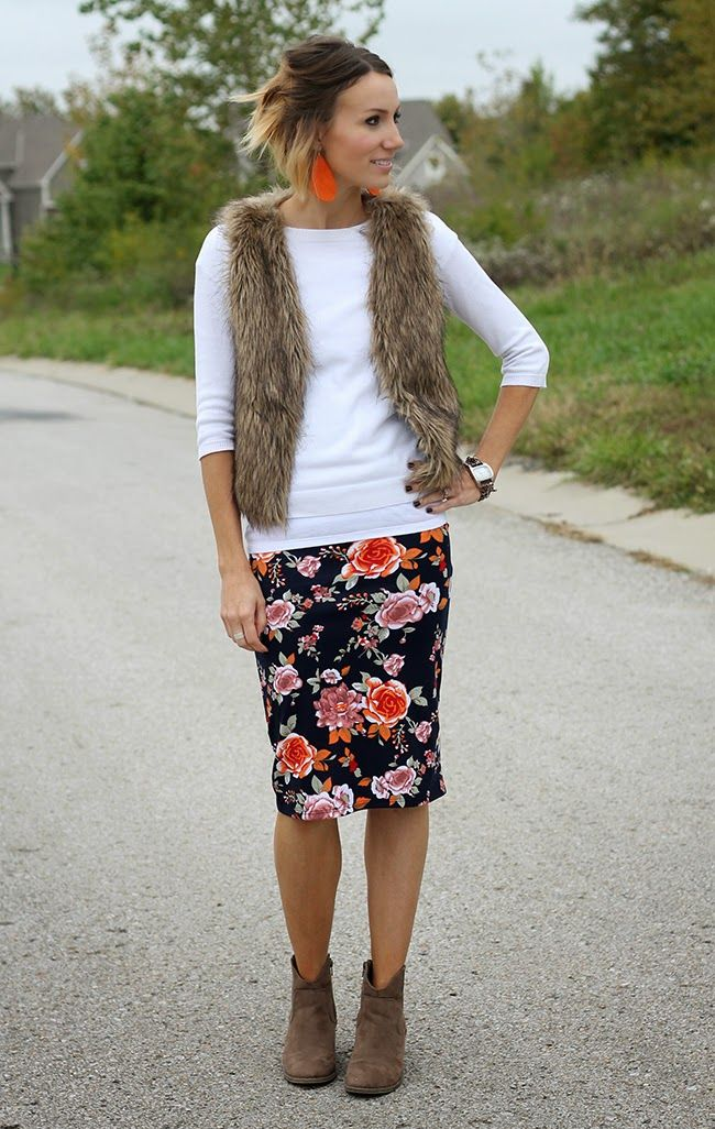 Floral pencil skirt, fur vest, and ankle boots