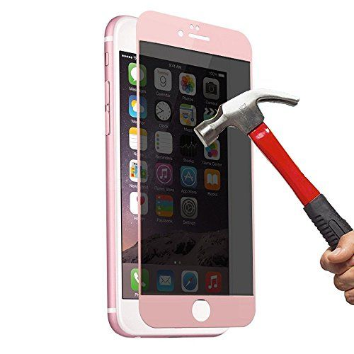 EVERMARKET 3D Full Cover High Transparent Privacy Anti Spy Tempered Glass Screen Protector Film for Apple iPhone 6 and 6s 4.7 Inch - Rose Gold * Visit the image link more details.