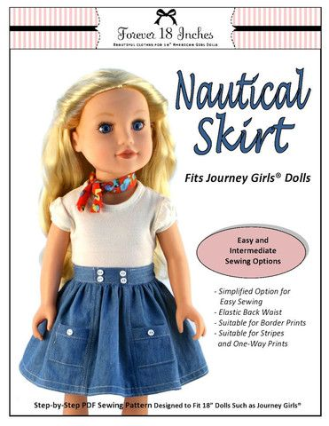 Forever 18 Inches Nautical Skirt Doll Clothes Pattern 18 inch Journey Girls Dolls | Pixie Faire