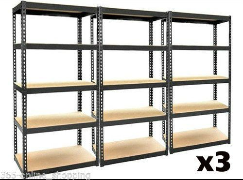 3 x 5 TIER BOLTLESS INDUSTRIAL HEAVY DUTY RACKING SHELVING STORAGE SHELVE GARAGE | eBay