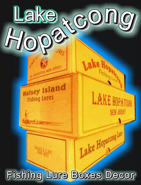 Lake Hopatcong New Jersey fishing lure box lake house decorations. Click the VISIT button to take a look.