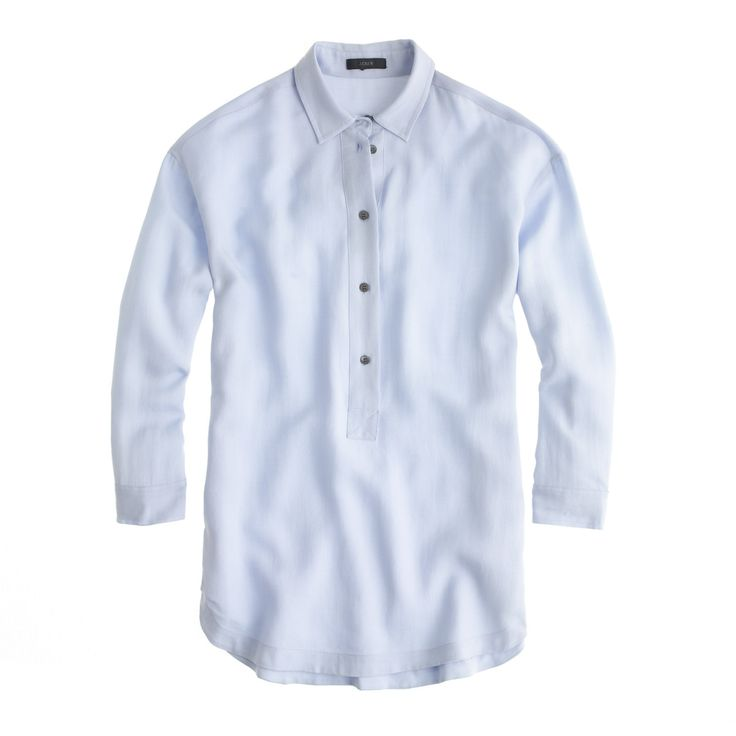 J.Crew Womens Petite Drapey Oxford Crepe Popover Shirt (Size XXS Petite)