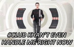 GIF SET. Click the pic to see Khan (Benedict Cumberbatch) dance. Lol I can't wait to get my Star Trek 2 DVD to see this man behind the scenes!