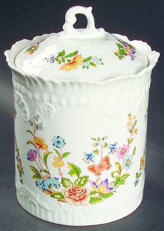 "Aynsley COTTAGE GARDEN Biscuit Barrel 4 3/4"" #7293650"