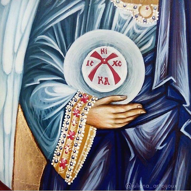 Detail on Saint Michael the Archangel icon 🎨 #saintmichael #stmichael #archangel #angel #icon #christian #orthodox #iconography #handpainted #art #orthodoxy #christianity #religious #painting #handmade #orthodoxicon #holy #saint #artistry #Byzantine #byzantineicon