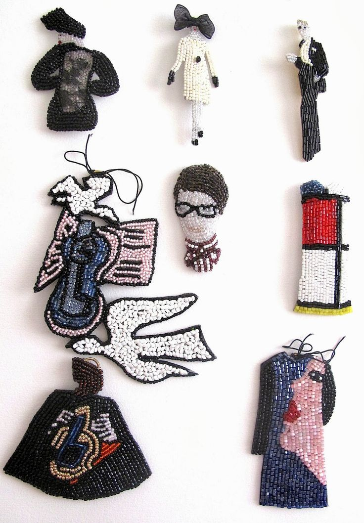 Portraits and scraps from French art (Marcel Proust portrait, Modigliani, Braque, and Lord knows what else) by French bead-embroiderer and culture vulture Marianne Batlle