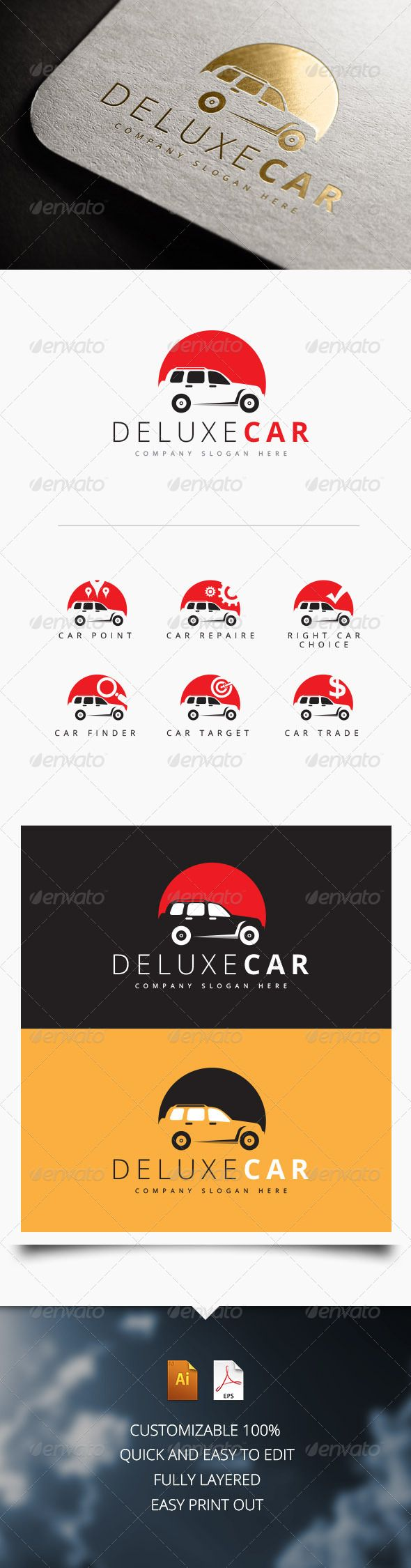 Deluxe Car Logo ...  auto, automobile, blue, brand, brand logo, branding, car, car logo, company logo, corporate, creative logo, dealer, design, green, lines, logo, mechanic, mock up logo, professional, red, service, sports, stationery