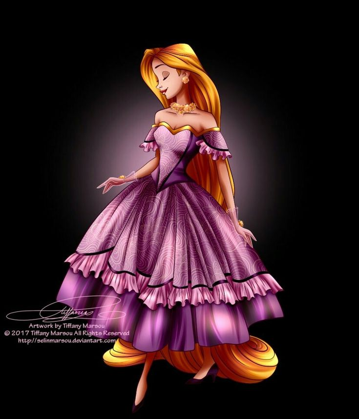 Rapunzel in her new beautiful purple ballgown dress