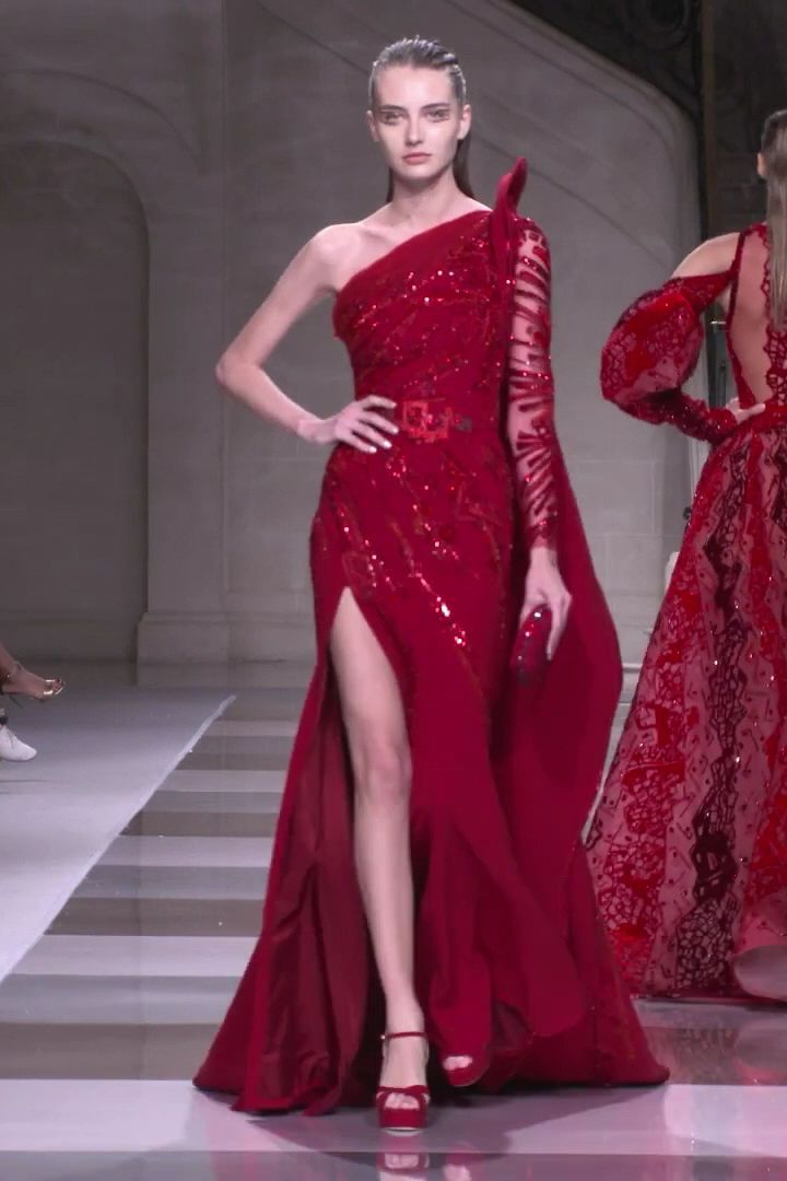 Ziad Nakad Look 3 Fall Winter 2019 2020 Haute Cou Collection Couture Dress Evening Fall Fashion Gown Hau Red Evening Gowns Evening Gowns Couture Gowns