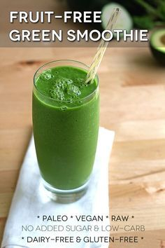 Fruit-free green smoothie recipe. Raw, vegan, paleo, low-carb, gluten-free, and no added sugar.