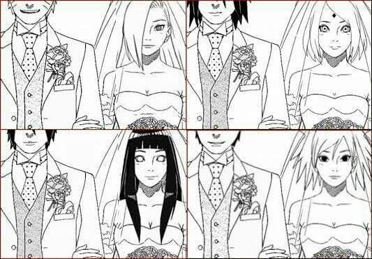 Ciao questa è una piccolissima modifica delle coppie originali di Masashi Kishimoto. Un amico che potrei definire il mio braccio destro mi ha aiutato molto a realizzare alcune immagini come questa che metterò in bacheca in breve. Abbiamo fatto quest'immagine e molte altre non per farci fighi ma per tutti i fan che supportano coppie differenti alle originali del mio mangaka preferito. Be spero che vi piacciano. Titolo: Matrimonio dei pairing: NaruIno, SasuSaku, SaiHina & ShikaTema