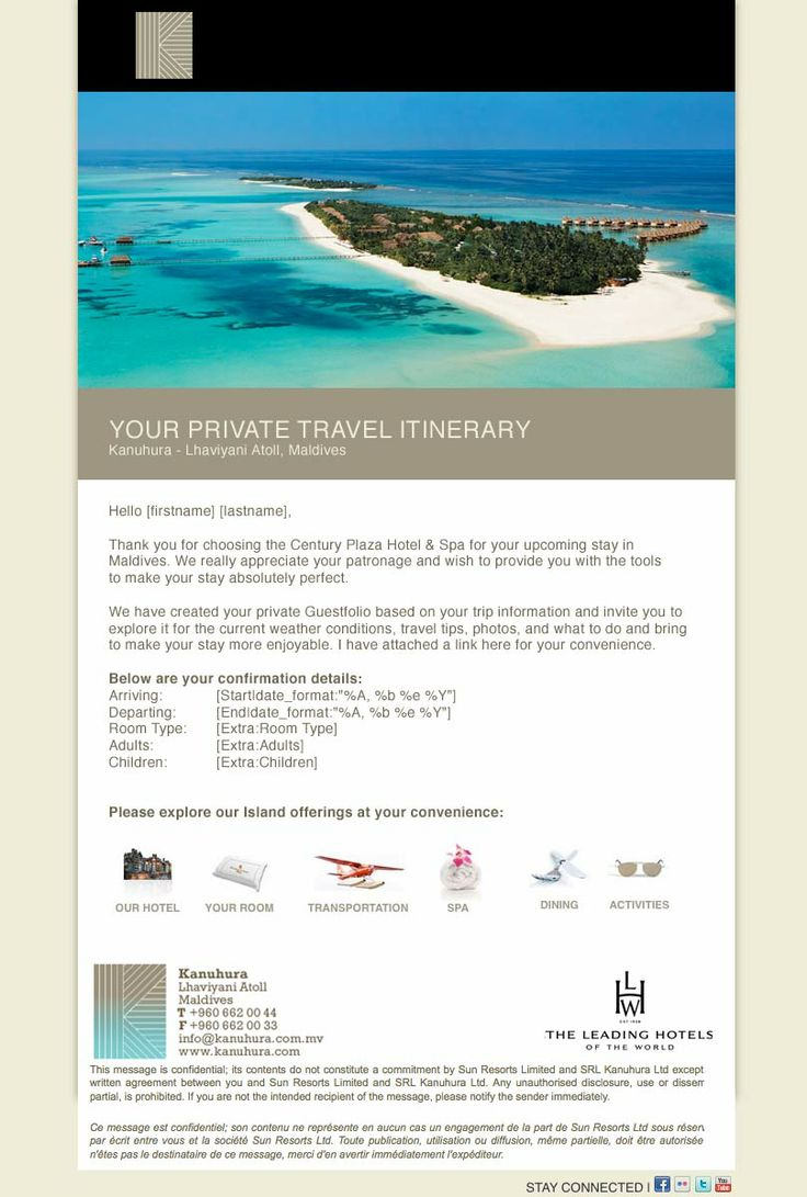 Hotel Pre Arrival Confirmation Email Templates