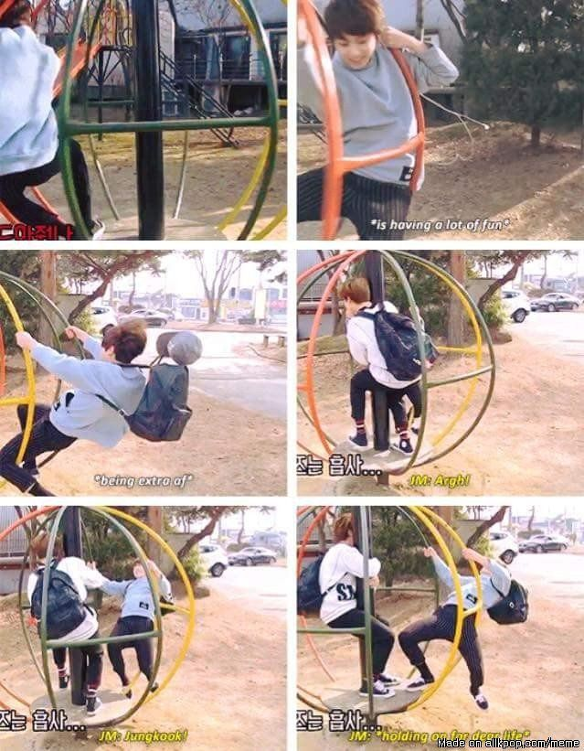 Maknae are always brave as compared to hyungs!! xD #jikook