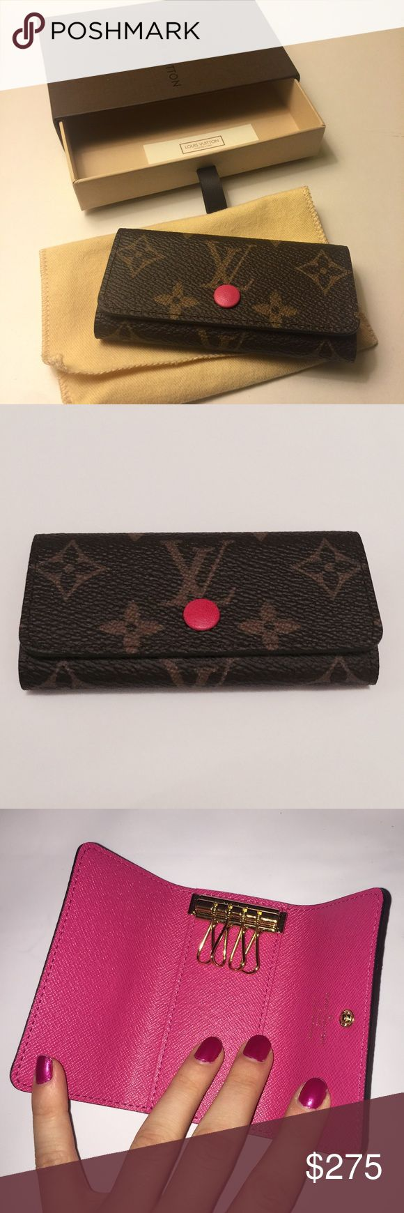 Louis Vuitton hot pink 4-key holder NWT sold out 4-key holder in hot pink from Louis Vuitton.  Never been used, no signs of wear. Louis Vuitton Accessories Key & Card Holders