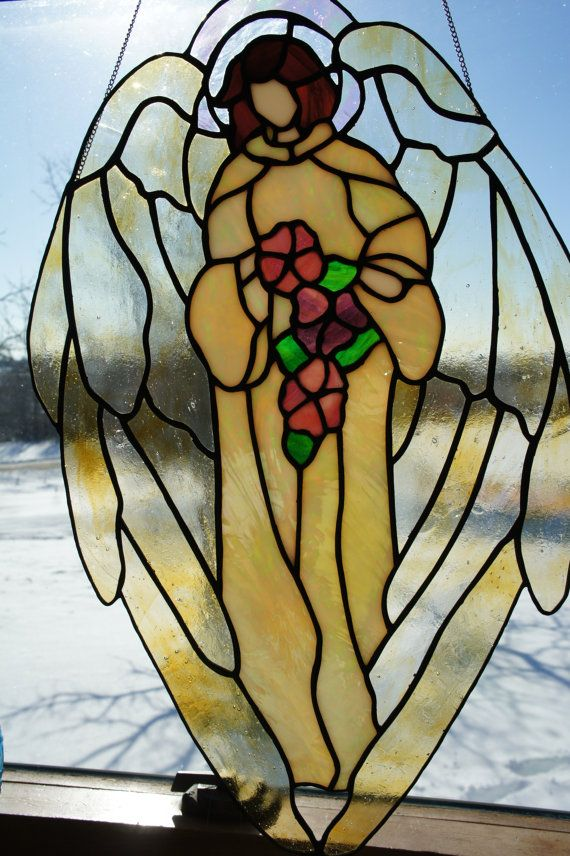 Serenity Angel with Flowers by StainedGlassByBev on Etsy, $122.00