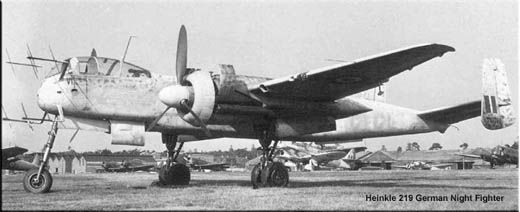 "The best of the German night fighters was perhaps the Heinkel 219 (He 219). The ""television antennas"" on the nose of the plane are radar antennas. German radar technology was inferior to British throughout the war, mainly because the British had early in the war invented a new type of vacuum tube, the magnetron, which meant a quantum leap in radar technology (magnetrons are still used today in radars and midcrowave ovens)."