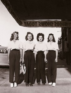 A movie usher in the early 1940s women style fashion found photo pants trousers blouse top shirt 40s