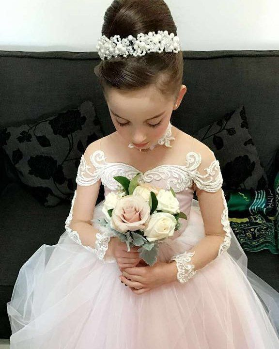 Flower Girl Dress,Sheer Back Long Sleeves Puffy Tulle Flower Girl Dress with Lace Embroidery,kids wedding gown