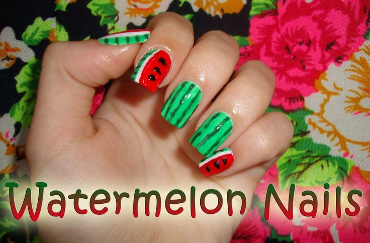 Watermelon nails. Perfect for summer! ♥ tutorial