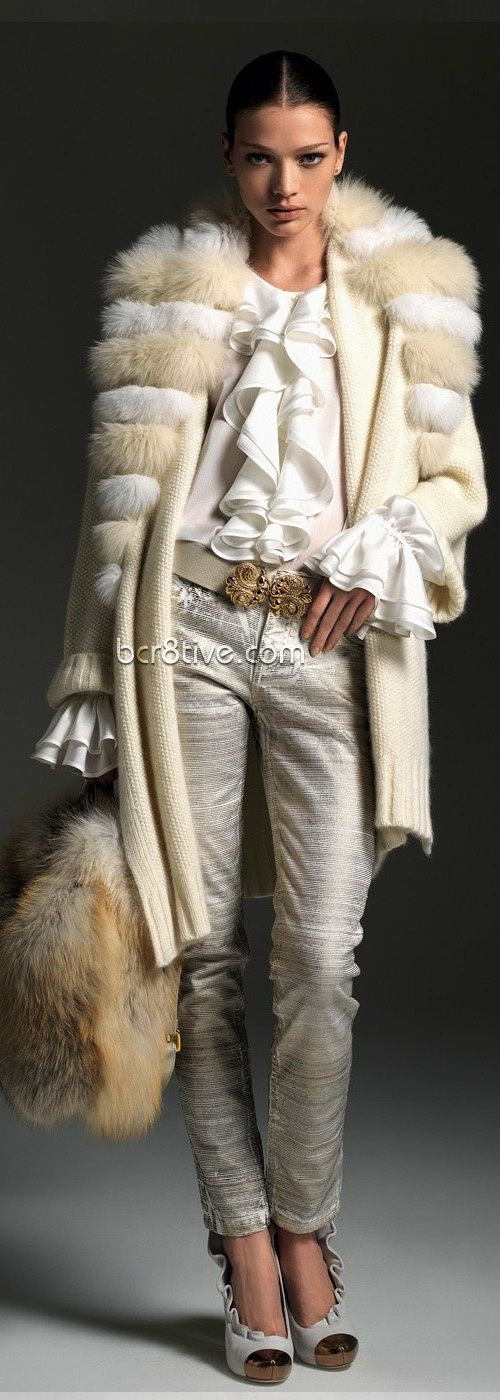Dress like a Rockstar in this furtrimmed overcoat, blouse with ruffled cuffs & cravat and printed linen look pants. Top it off with a fur purse ☆ Blumarine Fall Winter ☆ by eula.snow