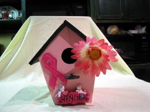 Breast cancer birdhouse